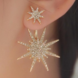 Shining Snow Shaped Diamante Earring(for one)