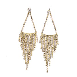 Elegant Rhinestones Inlaid Tassels Pendant Earrings