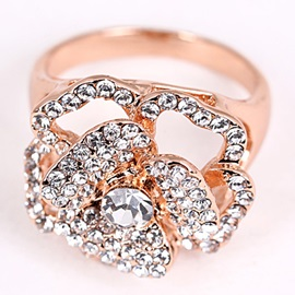 Shining Rhinestones Inlaid Golden Ring