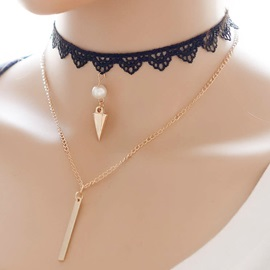 Multilayer Vintage Lace Metal Pendant Necklace