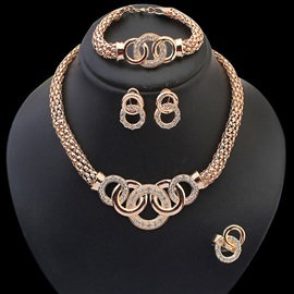 Golden Diamante Four Pieces Jewelry Set