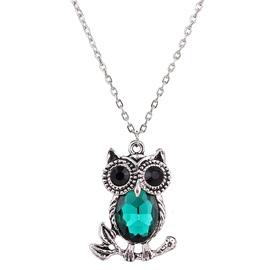 Gemstone Inlaid Owl Pendant Necklace