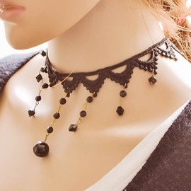 Vintage Style Beading Lace Necklace