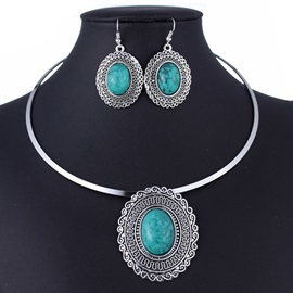 Imitation Turquoise Oval Jewelry Set