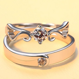Wonderful 925 Silver Lovers' Ring(One Pair)