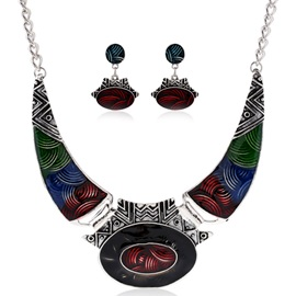Ancient Silver Oil Drip Jewelry Set