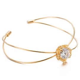 Crystal Inlaid Gold Plated Bracelet