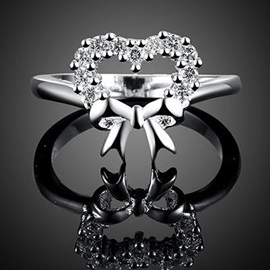 Bow-Shaped Diamante Ring