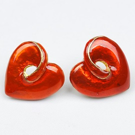 Heart-Shaped Drop Glaze Stud Earrings