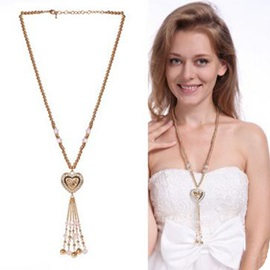 Crystal Heart-Shaped Pendant Long Necklace
