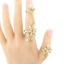 Shining Flowers Diamante Golden Ring