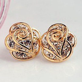 Golden Rose Diamante Alloy Stud Earrings