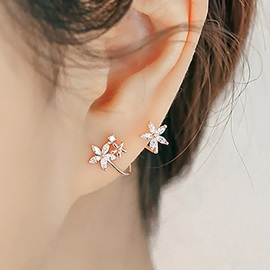 Simple Lovely Rhinestone Flowers Earrings