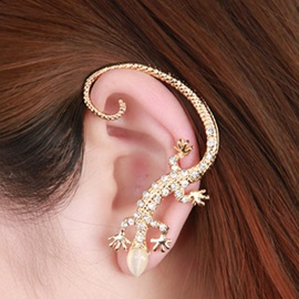 Golden House Lizard Diamante Women's Ear Cuff