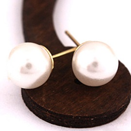 Concise Imitation Pearl Stud Earrings