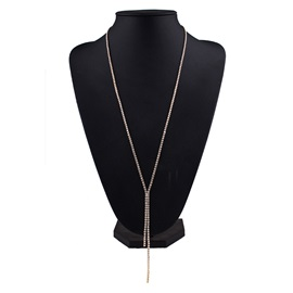 Long Simple Full Rhinestone Necklace