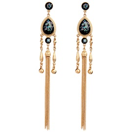 Water Droplets Golden Tassels Women's Earrings