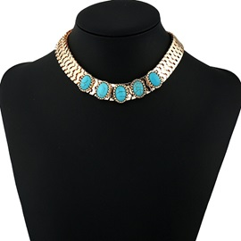 Turquoise Inlaid Vogue Alloy Choker Necklace