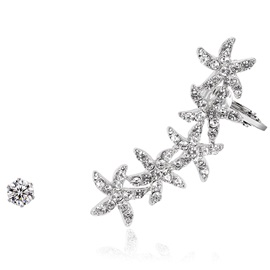Imitation Diamond Stars Design Asymmetric Earrings
