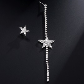 Rhinestone Alloy Asymmetric Stars Design Earrings
