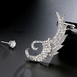 Asymmetric Diamante Wing Alloy Charmed Earrings