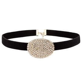 Shiny Rhinestone Inlaid Black Leather Choker Necklace