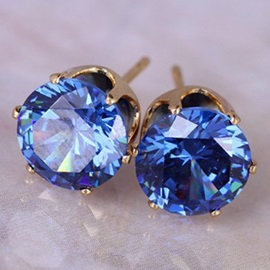 Colorful Round 8mm Zircon Inlaid  Earrings