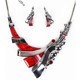 Red Resin Pattern Diamante Two-Pieces Short Jewelry Set