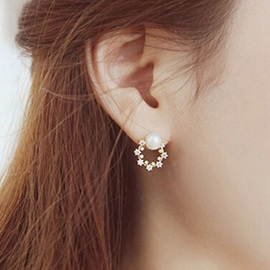 Pearl Inlaid Round Alloy Diamante Trendy Earrings