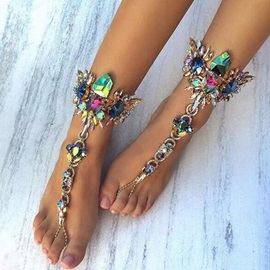 Colored Rhinestone Inlaid Exaggerated Anklet