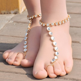 Alloy Diamante Water Droplets Toe Ring Anklet