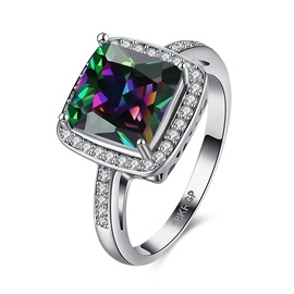Square Colorful Zircon Ring for Women