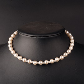 Pearl Diamante Alloy Delicate Wedding Choker Necklace