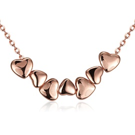 Multiple Heart-Shaped Rose Gold Plated Necklace