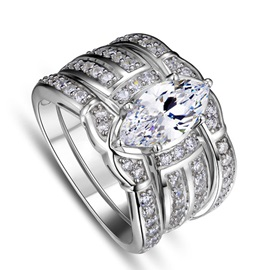 Marquise Cut Zircon Design Three Layers Ring