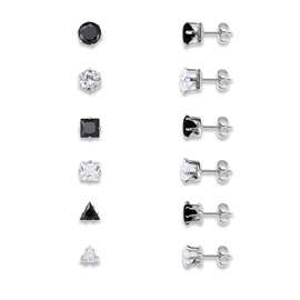 Geometric Diamante Stone Metal Flower Design Group Stud Earrings