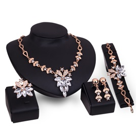 Marquise Leaves Diamante Tassel Figaro Chain Bohemian Jewelry Sets
