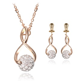 Twisty Full Drill Rolling Ball Alloy Necklaces Earrings Jewelry Sets