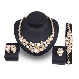 Pearl Exquisite Floral & Leaf Shape Diamante Stud Earrings Jewelry Sets