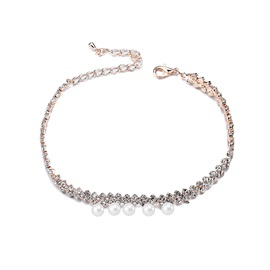 Bright Diamante Pearls Alloy Hook Chain Simple Wedding Anklets