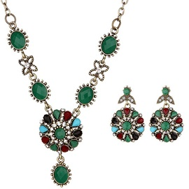 Floral Stone Diamante Round Vintage Jewelry Sets