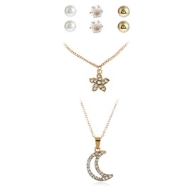 Floral & Moon Pearl Inlaid Diamante Alloy Jewelry Sets