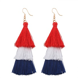Bohemian Tassel Alloy Three Layer Umbrella Shape Earrings