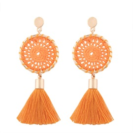 Woven Vintage Long Alloy Round Tassel Earrings