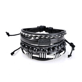 Black Wooden Beads Woven Leather Rope Bracelets & Bangles Sets