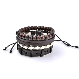 Handcraft Wooden Beads Knotting Woven Leather Bracelets & Bangles