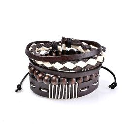 Wooden Beads PU Woven Color Block Multilayer Group Bracelets & Bangles