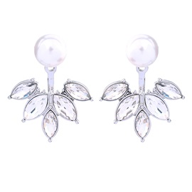 Pure Dismountable Pearl Leaf Crystal Stone Metal Mini Stud Earrings