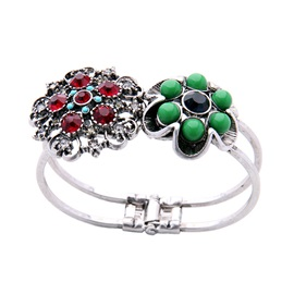 Colorful Balls Rhinestone Flower Hollow Out Alloy Vintage Bracelets & Bangles