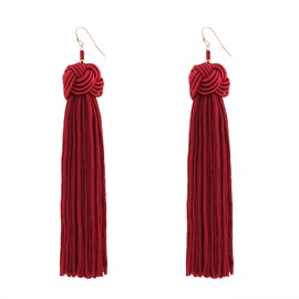 Handmade Thread Woven Flower Long Bohemian Tassel Earrings
